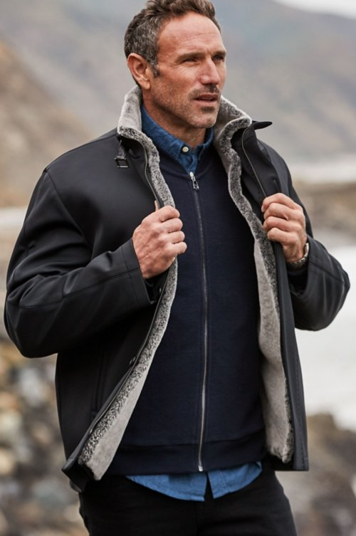Stuart Microfiber Coat with Removable Shearling Lining