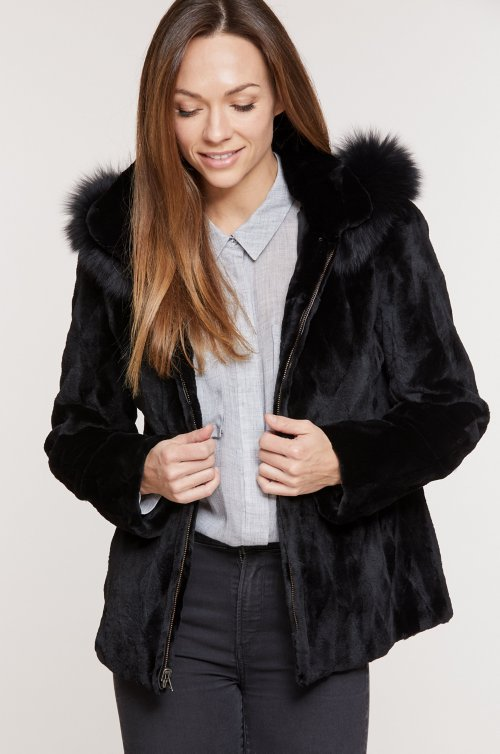 Caryn Reversible Mink Fur Jacket with Fox Fur Trim and Detachable Hood