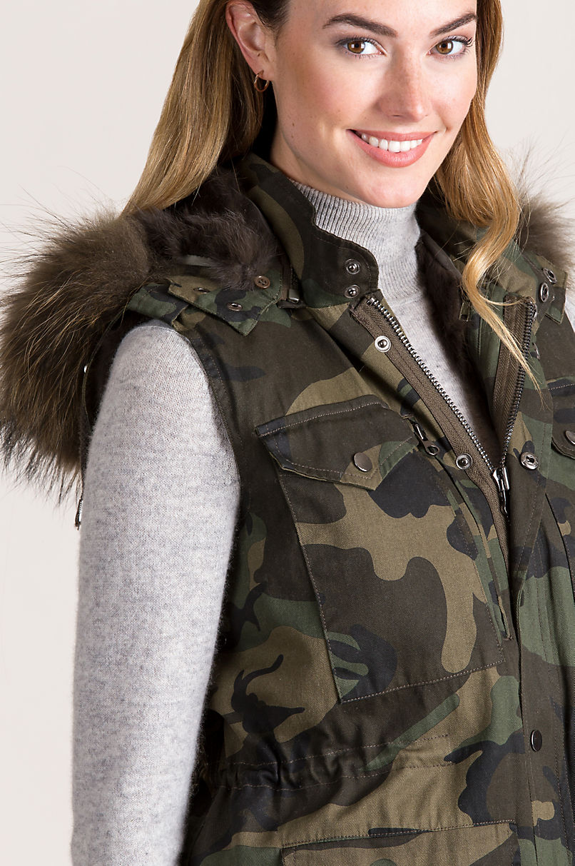 Alexis Camouflage Vest with Racoon Fur Trim and Detachable Rabbit Fur Lining and Hood