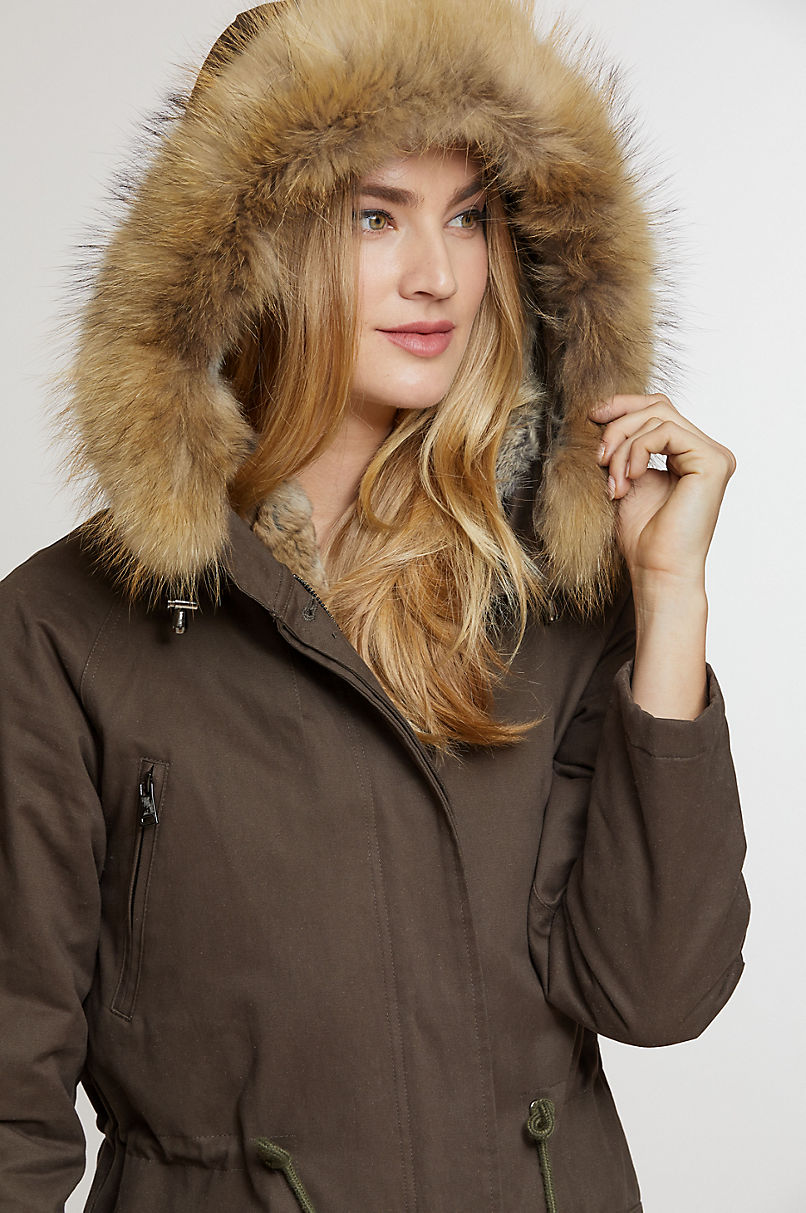 Kate Hooded Cotton Coat with Removable Rabbit Fur Lining and Raccoon Fur Trim