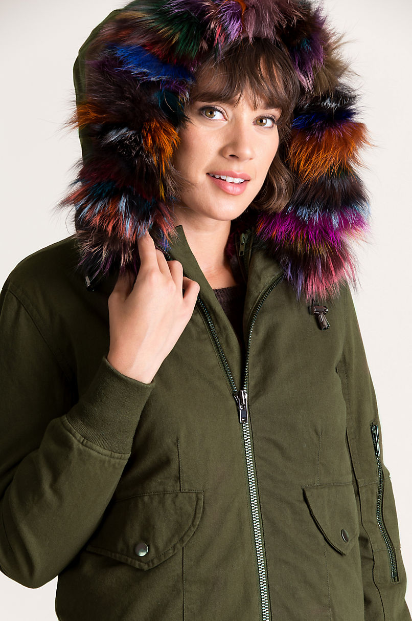Dinah Rabbit Fur and Canvas Convertible Bomber Vest Jacket