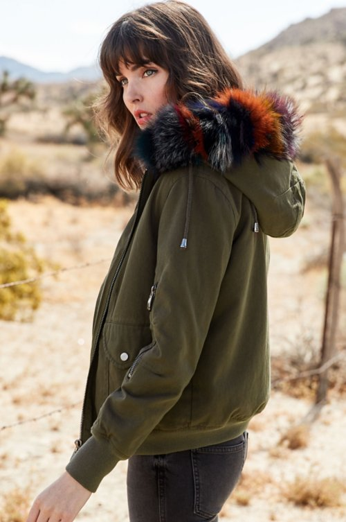 Dinah Hooded Canvas Bomber Jacket with Fox Fur Trim and Detachable Rabbit Fur Vest