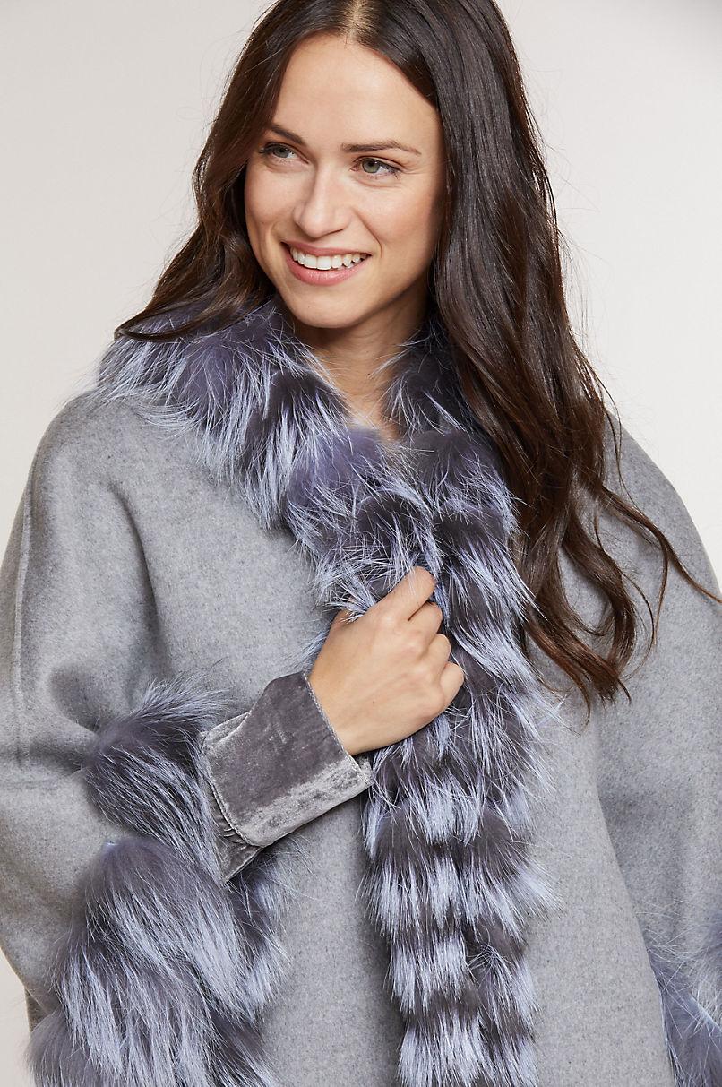 Glissade Wool Cape with Fox Fur Trim