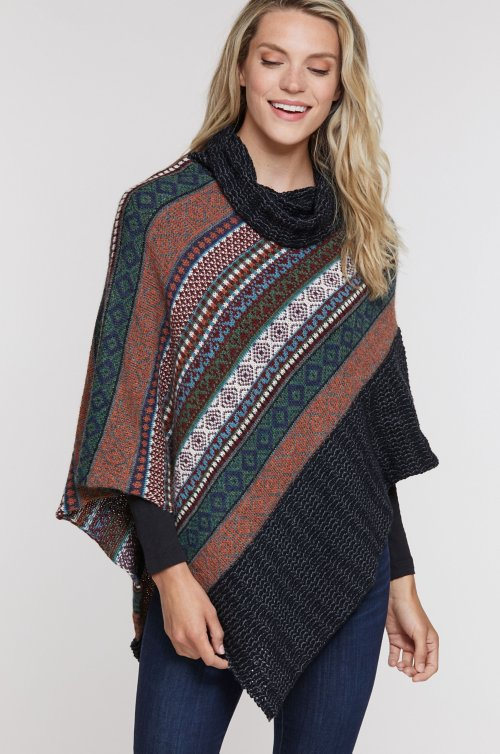 Fair Isle Organic Cotton and Baby Alpaca Wool Poncho