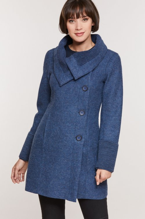 Monica Peruvian Alpaca Wool Coat with Knit Trim