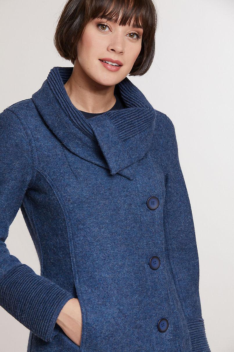 Monica Peruvian Alpaca Wool Coat with Knit Trim