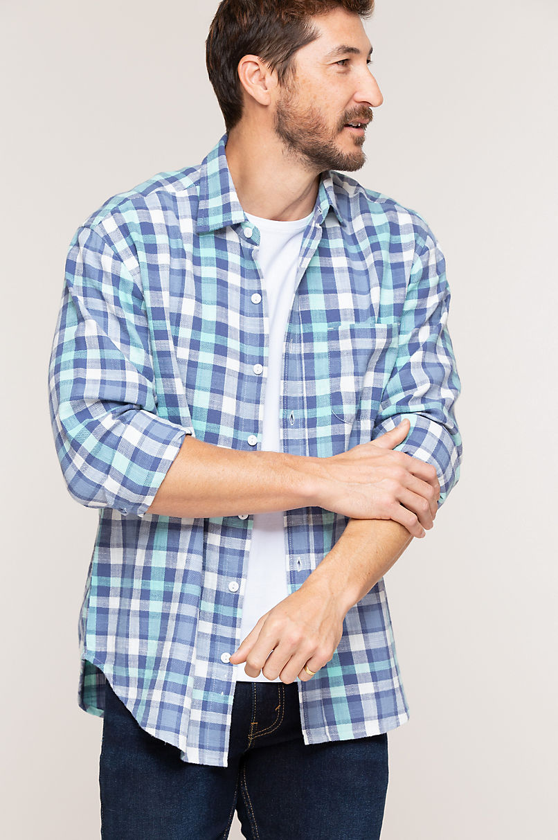 Nick Navy Plaid Cotton Shirt