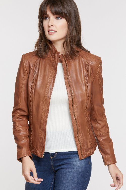 Azura Washed Lambskin Leather Jacket