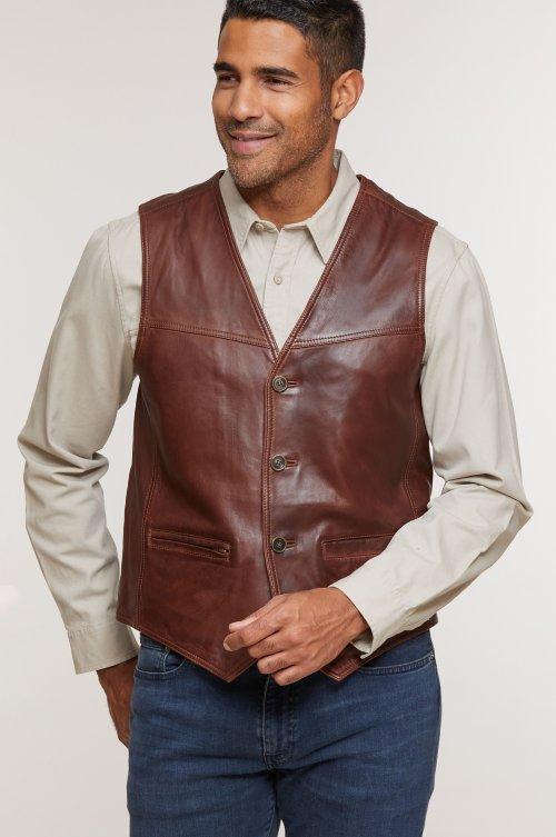 Kyle Distressed Lambskin Leather Vest