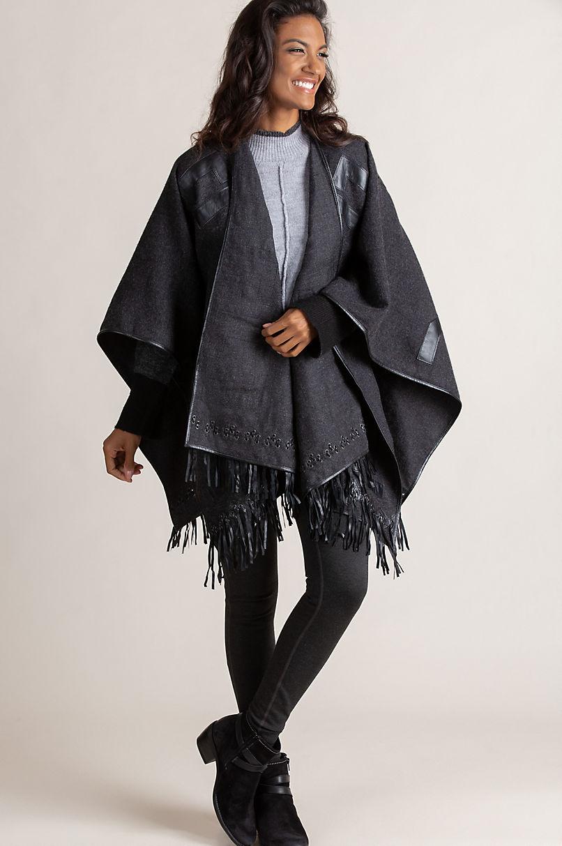 Lucinda Baby Alpaca Wool Shawl with Lambskin Leather Trim