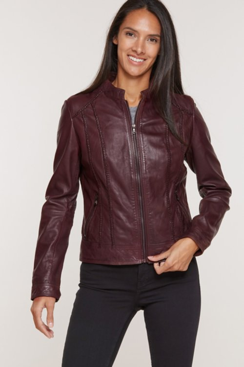 Sue Washed Lambskin Leather Moto Jacket