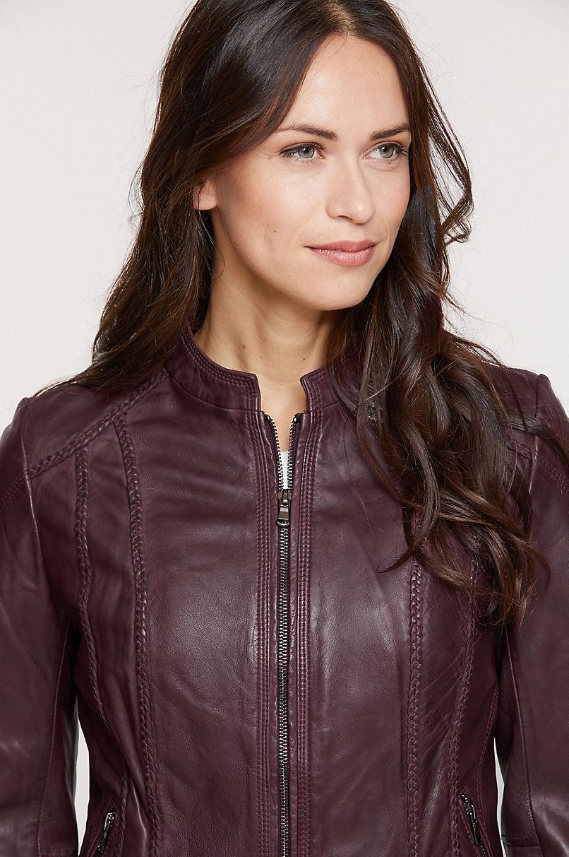 Sue Washed Lambskin Leather Moto Jacket