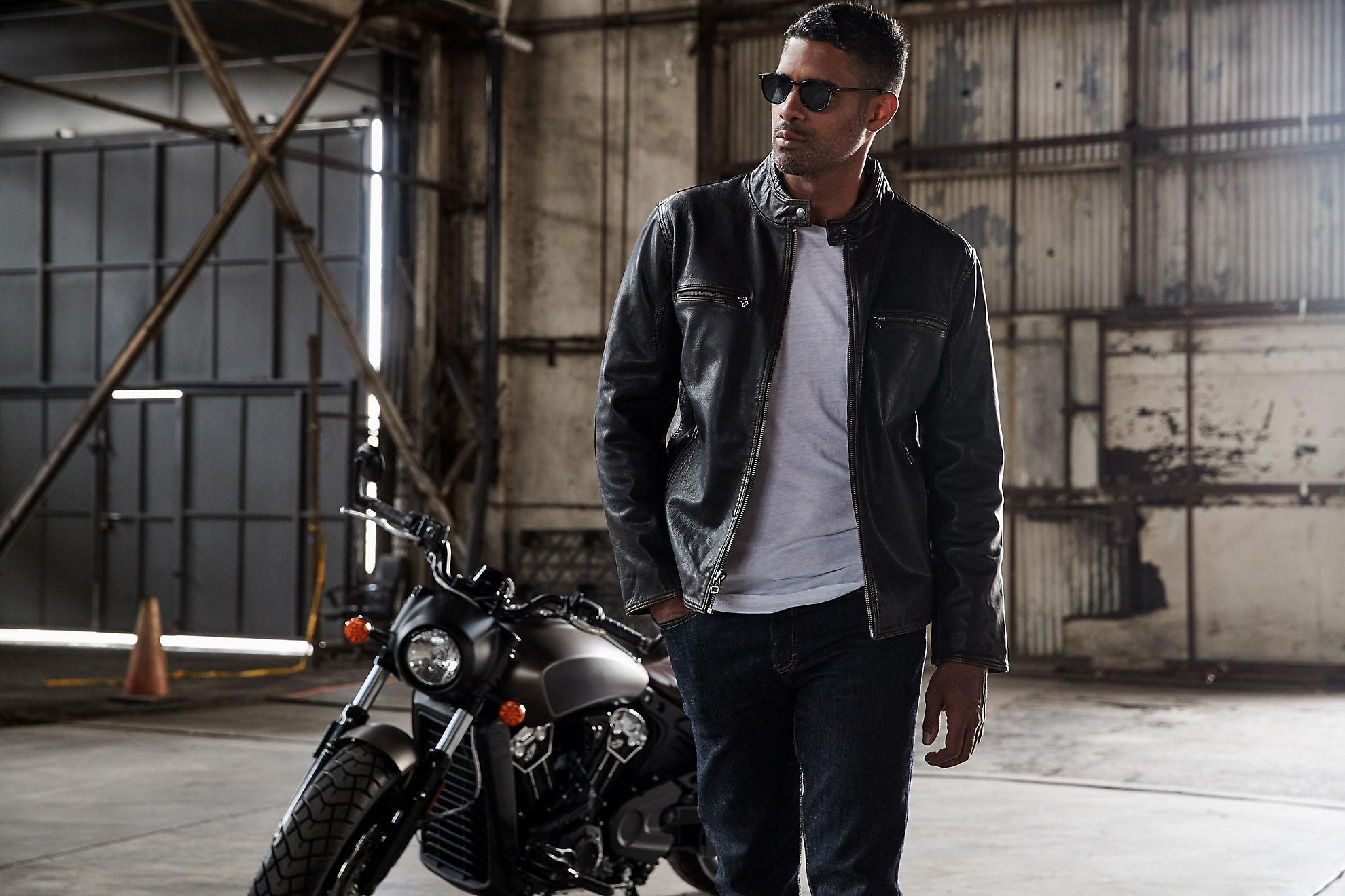 Retro Motocross Goatskin Leather Jacket