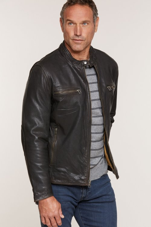 Retro Motocross Goatskin Leather Jacket