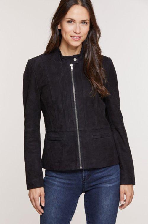 Hailey Goatskin Suede Moto Jacket