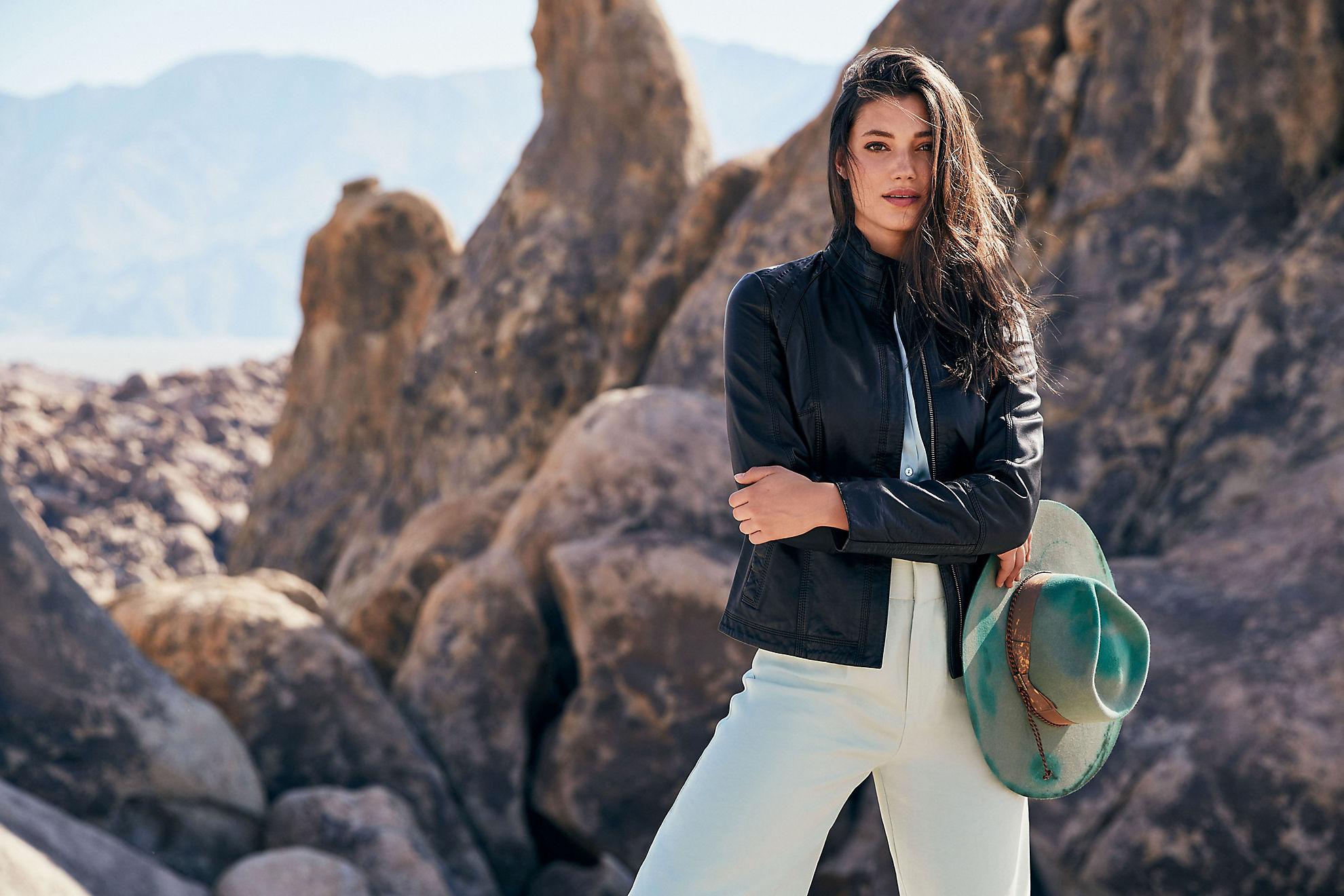 Azura Classic Washed Lambskin Leather Jacket