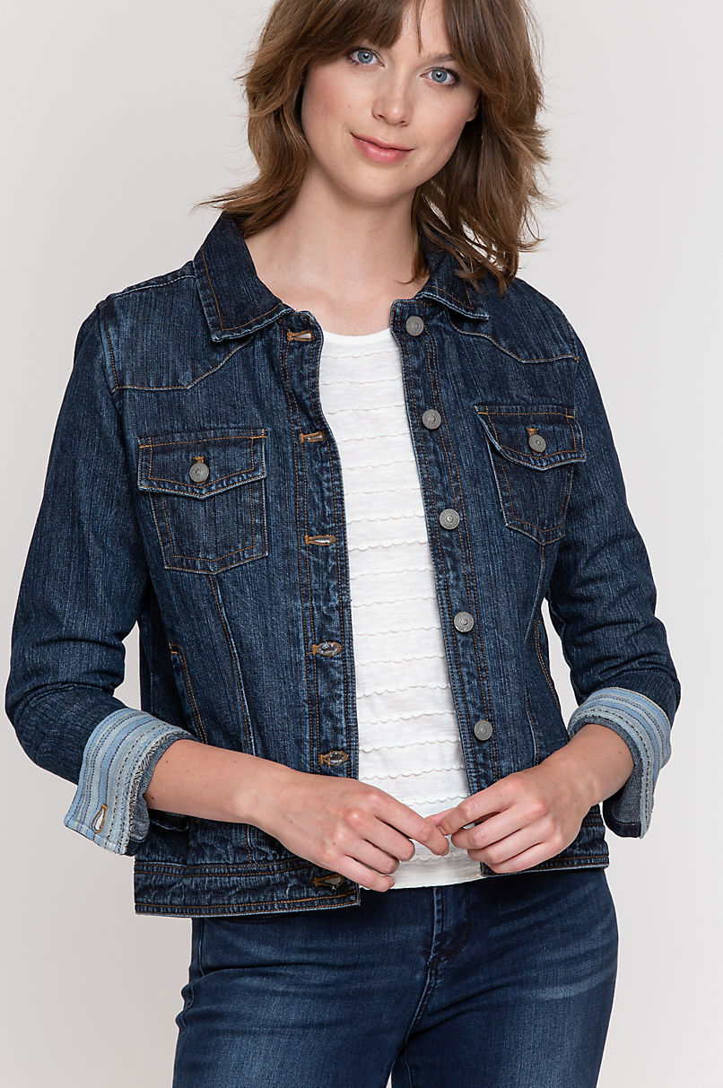 Kylie Fabric-Lined Denim Jean Jacket