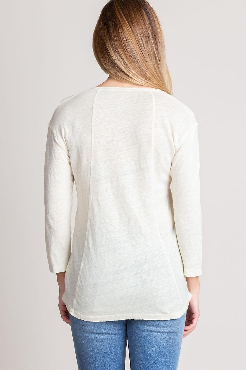 Geneva Linen Jersey 3/4-Sleeve Knit Shirt
