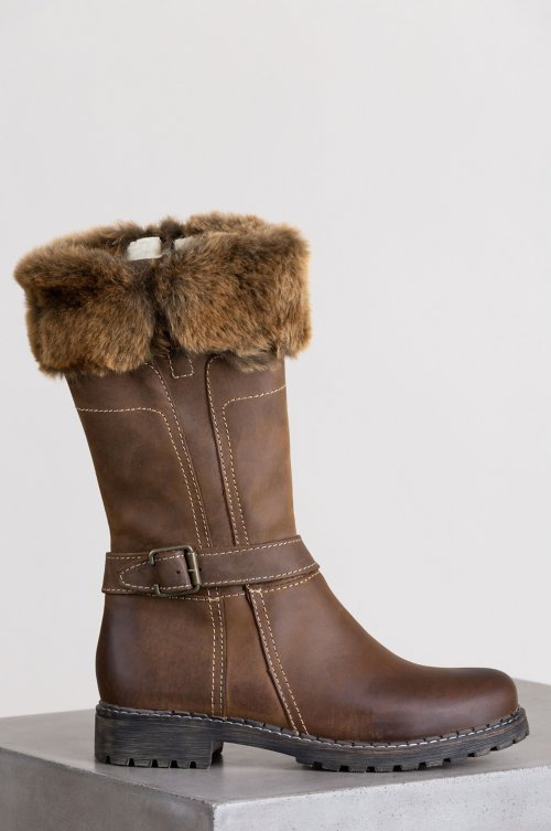 Women's Adelyn Wool-Lined Leather Boots with Shearling Trim