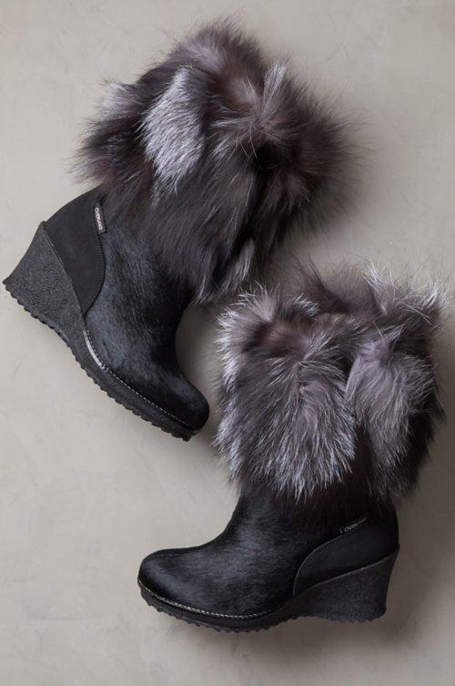 Women's Angelina Wool-Lined Calfskin Boots with Fox Fur Trim