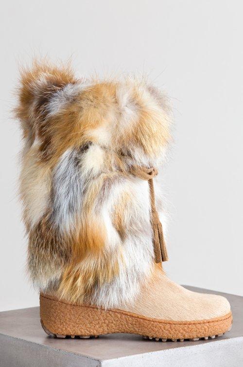 Women's Gigi Wool-Lined Fox Fur and Calfskin Boots