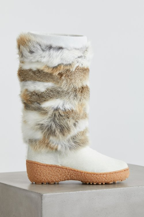 Women's Norma 2 Wool-Lined Rabbit Fur and Calfskin Boots