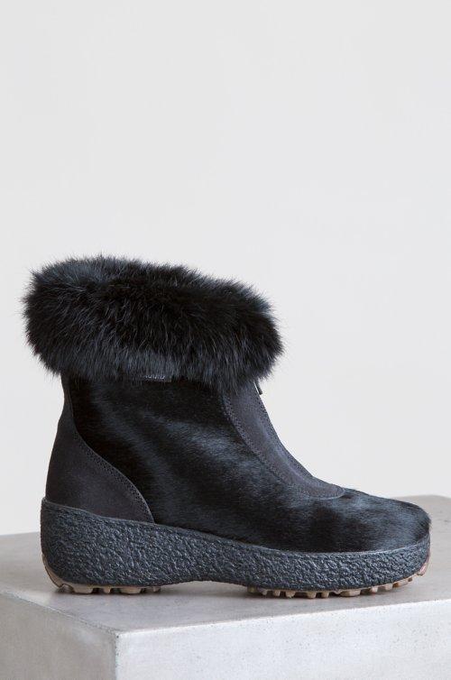Women's Rose Wool-Lined Calfskin Boots with Rabbit Fur Trim