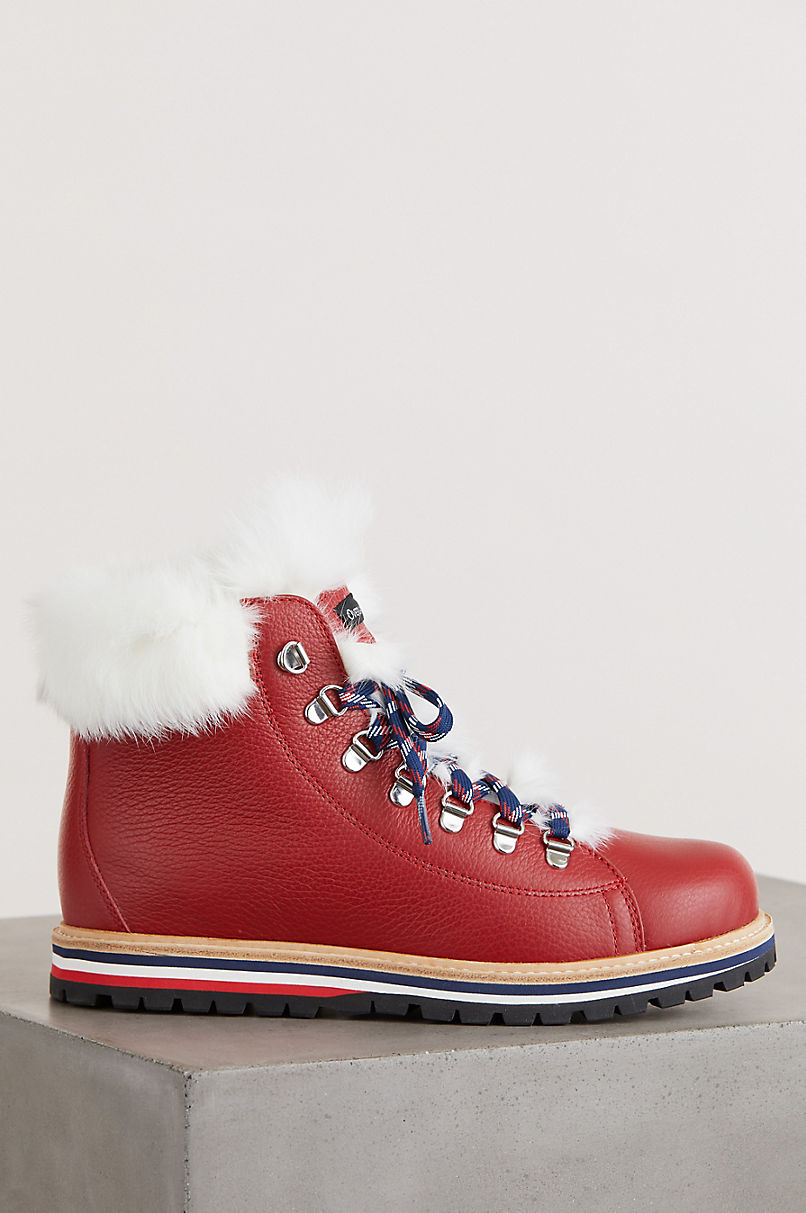 Women's Ariel Wool-Lined Rabbit Fur and Italian Leather Hiker Boots