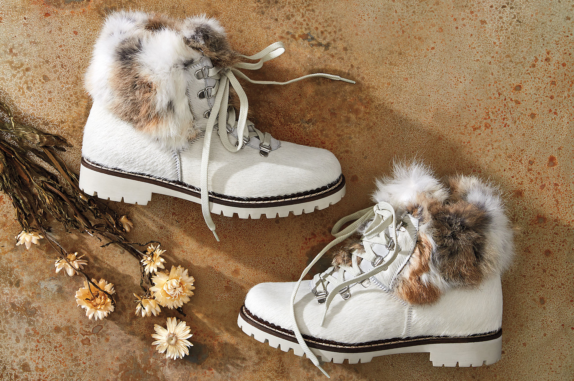Women's Forest Wool-Lined Rabbit Fur and Italian Calfskin Hiker Boots