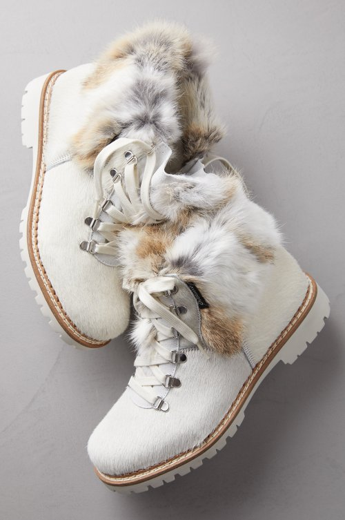 Women's Forest Wool-Lined Rabbit Fur and Italian Calfskin Boots