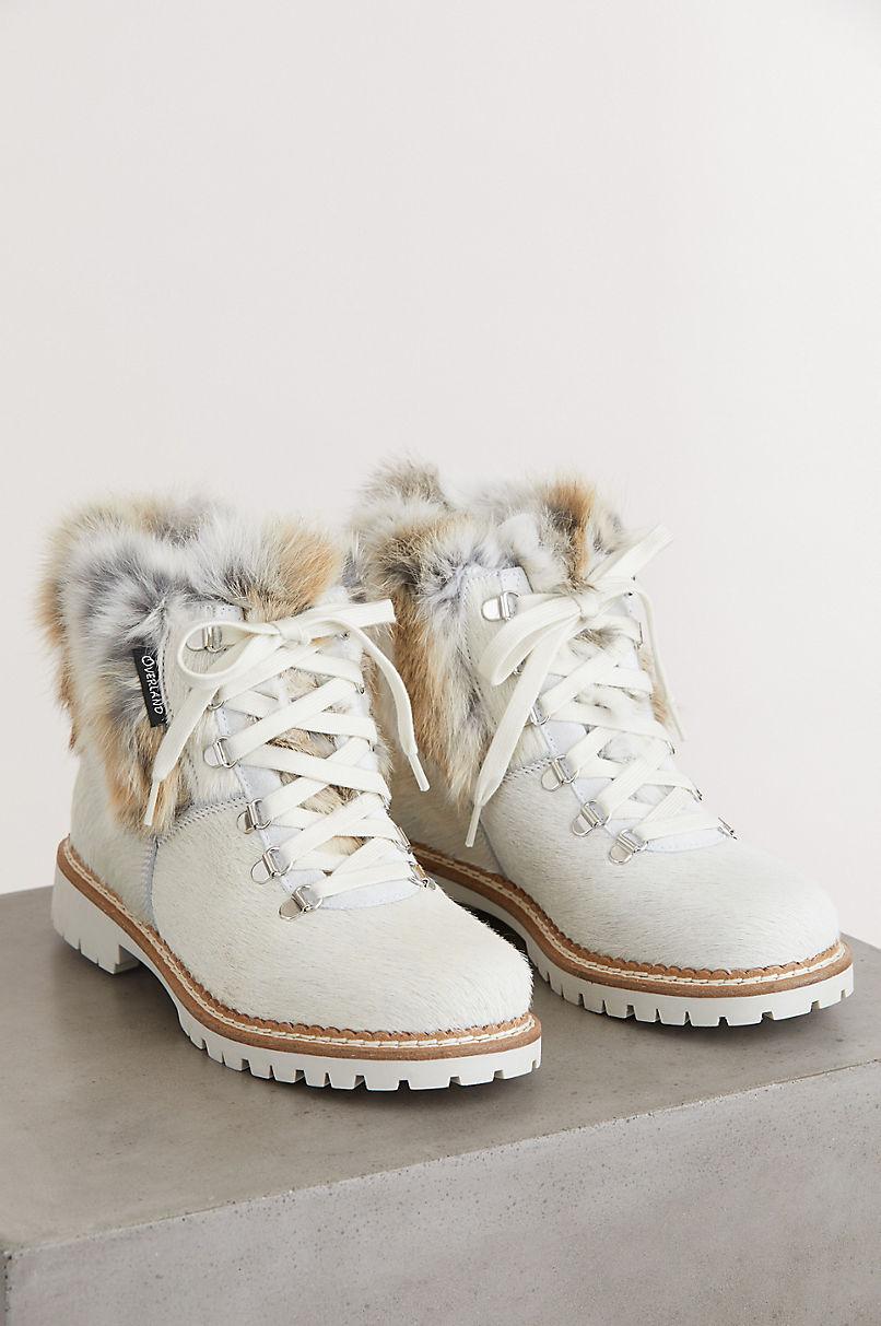 Women's Forest Wool-Lined Rabbit Fur and Italian Calfskin Hiker Boots