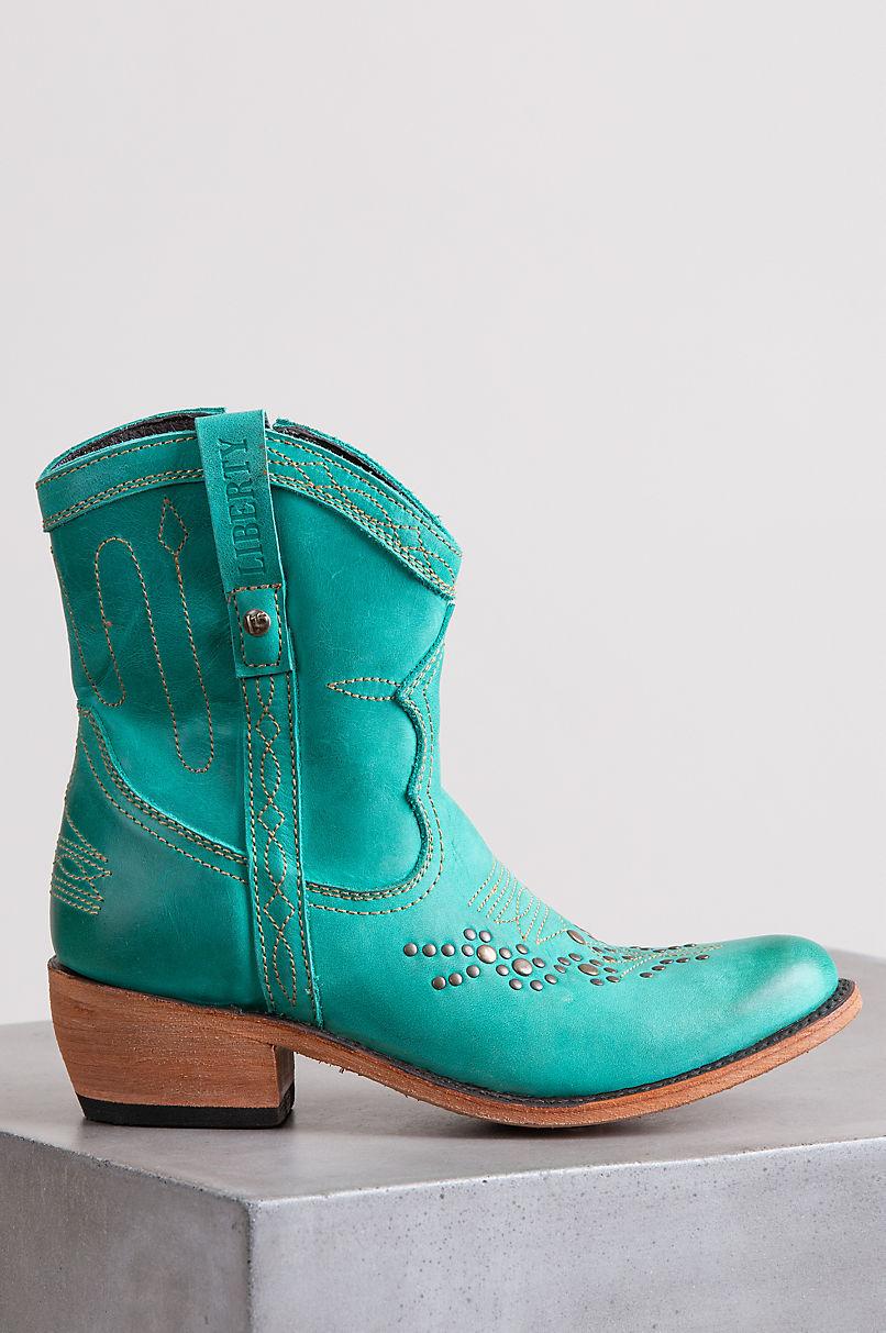 Liberty Black Women's Quinn Turquoise Blue Leather Cowboy Boots
