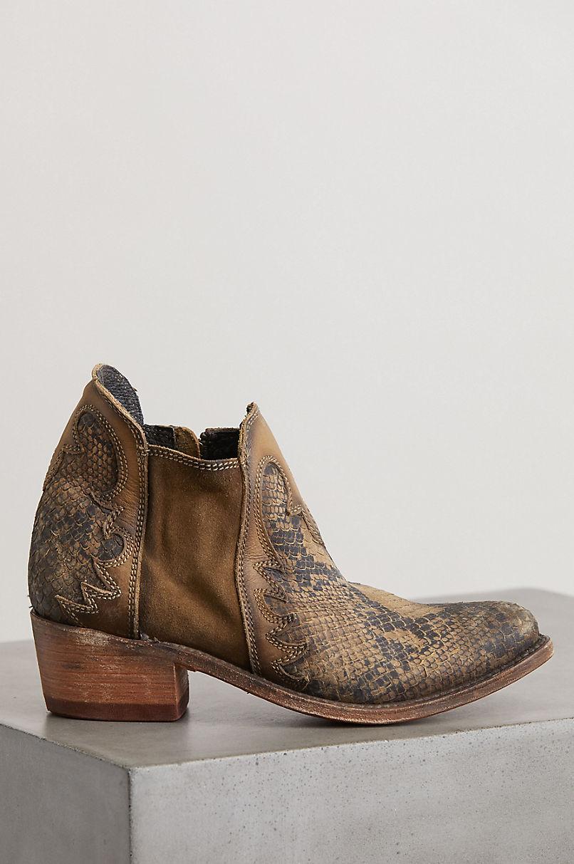 Women's Liberty Black Uma Python Embossed Suede Cowboy Boots