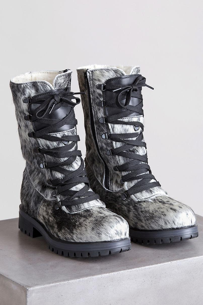 Women's Marianne Wool-Lined Waterproof Brazilian Cowhide Fur Hiker Boots