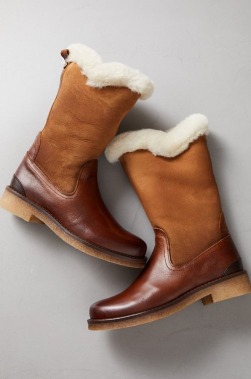 Women's Angela Shearling-Lined Leather and Suede Boots