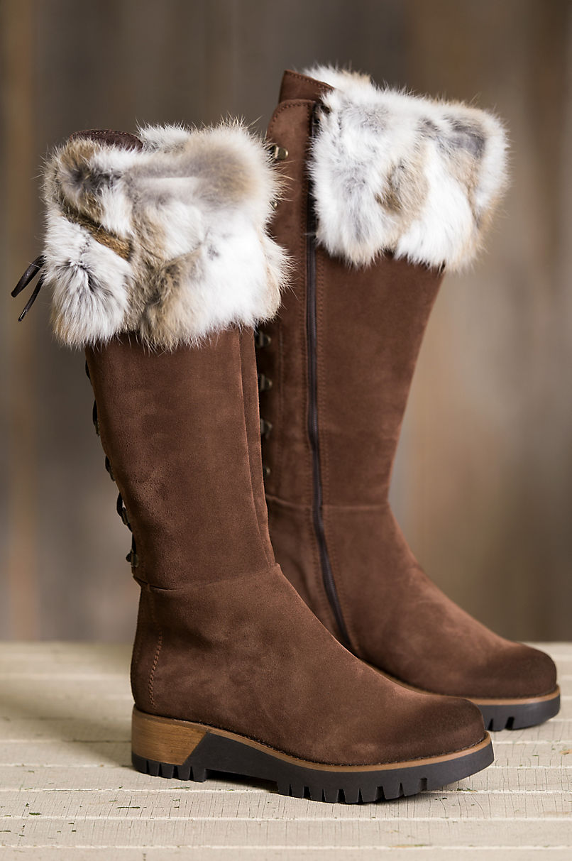 4d2f6f7fd13ae Women's Overland Utah Calfskin Suede Boots with Rabbit Fur Trim