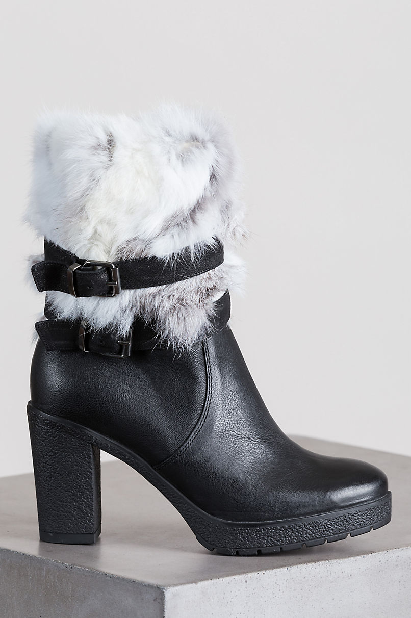 Women's Mariah Goatskin Leather Boots with Rabbit Fur Trim
