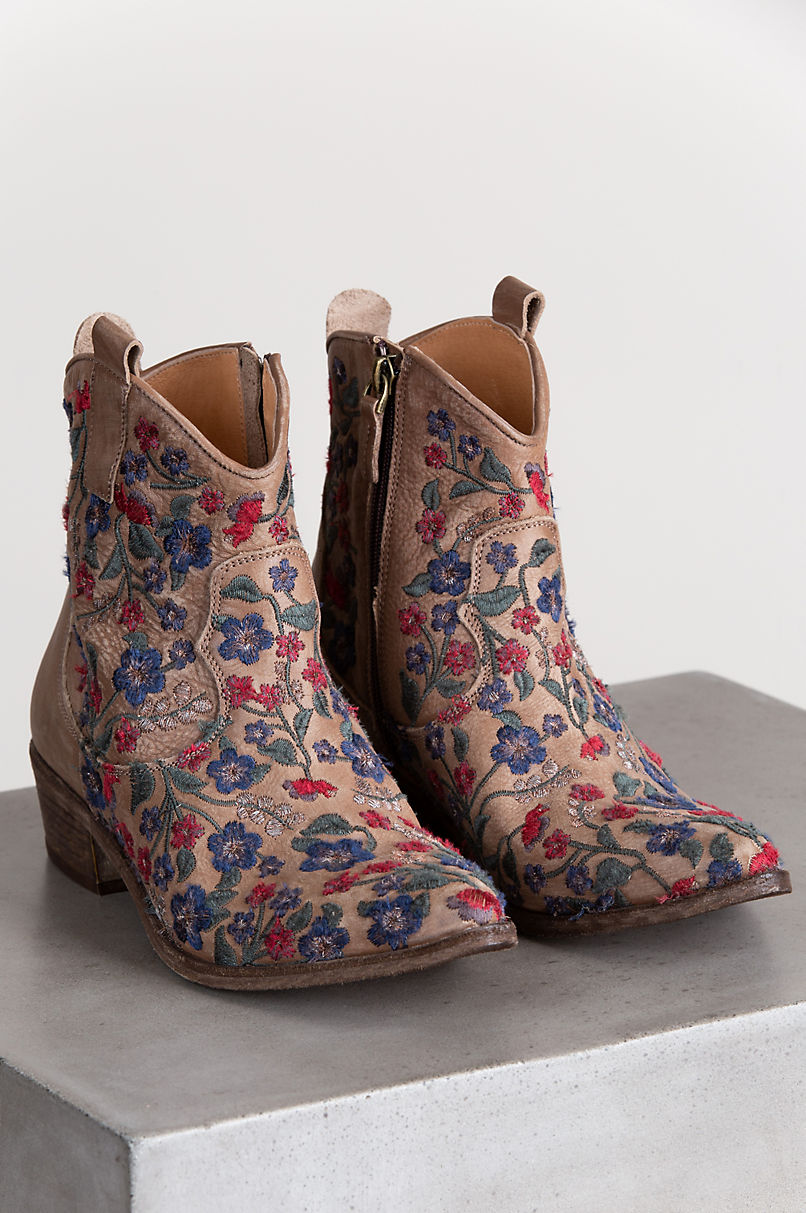 Women's Ariel Embroidered Leather Ankle Cowboy Boots