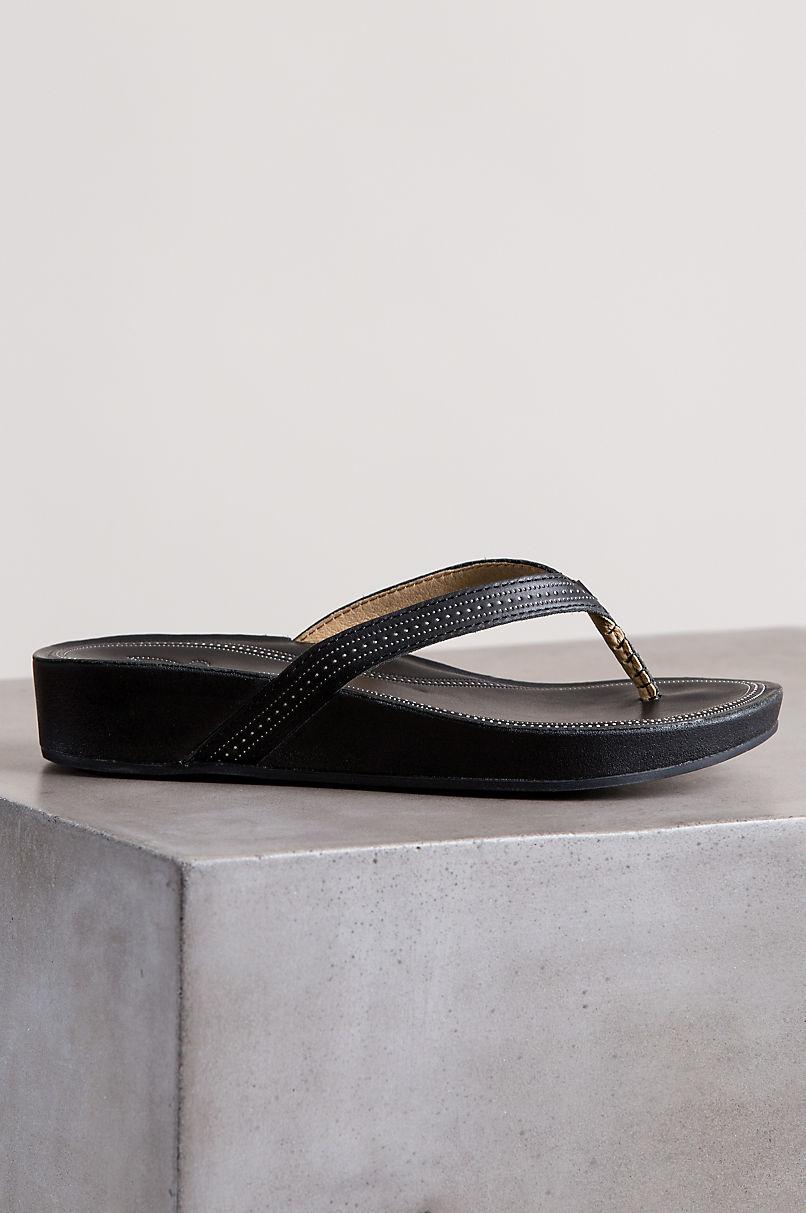 Women's OluKai Ola Slip-On Leather Wedge Sandals