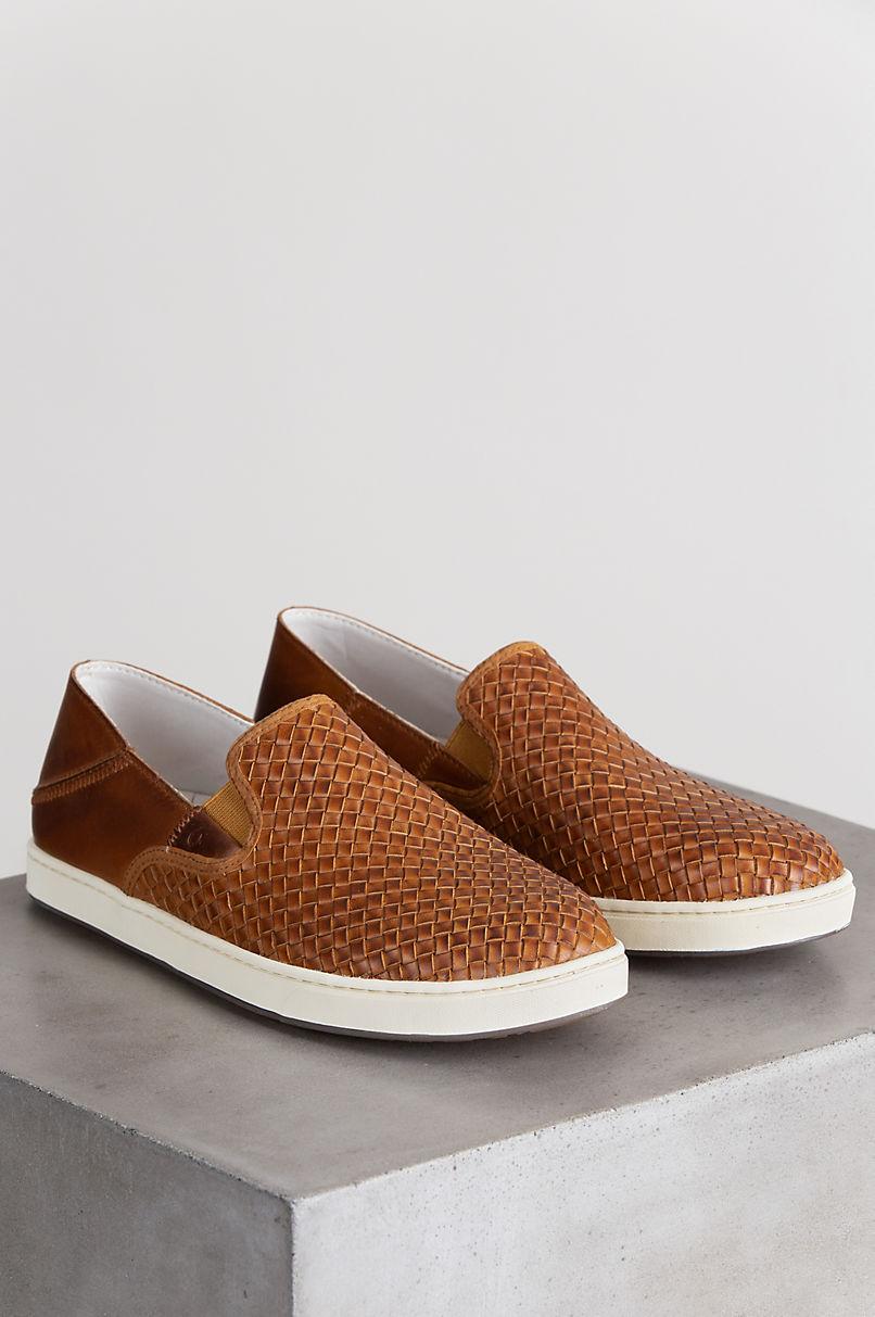 Men's OluKai Kahu Lauhala Woven Leather Slip-On Shoes