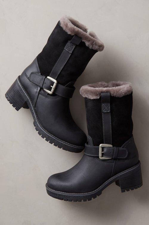Women's Maine Wool-Lined Waterproof Leather and Sheepskin Boots