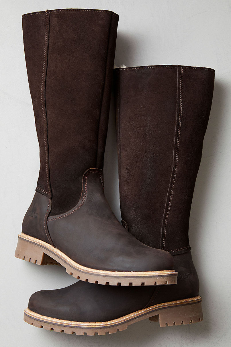 Women's Hudson Shearling-Lined Waterproof Suede and Leather Boots