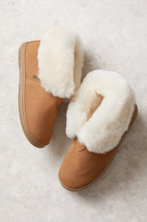 Children's Australian Merino Shearling-Lined Suede Slipper Booties