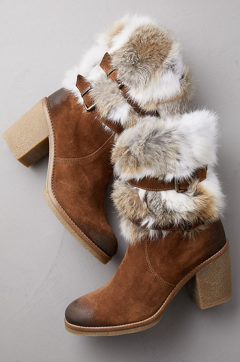 Elsa Rabbit Fur and Calfskin Suede Boots