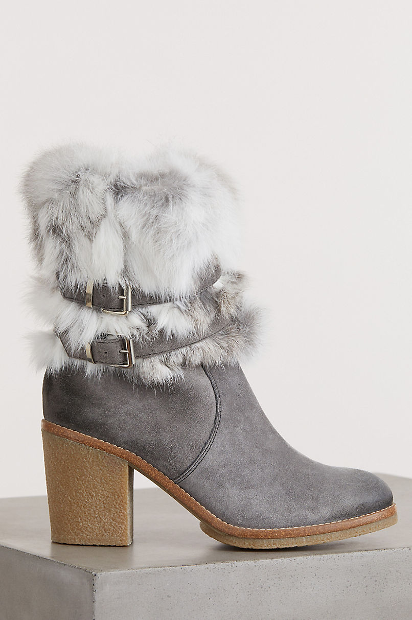 Women's Elsa Rabbit Fur and Calfskin Suede Boots