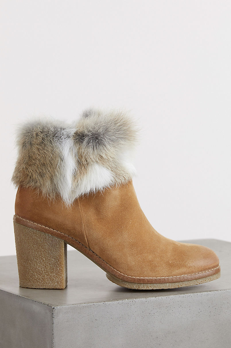 Women's Claire Rabbit Fur and Calfskin Suede Boots