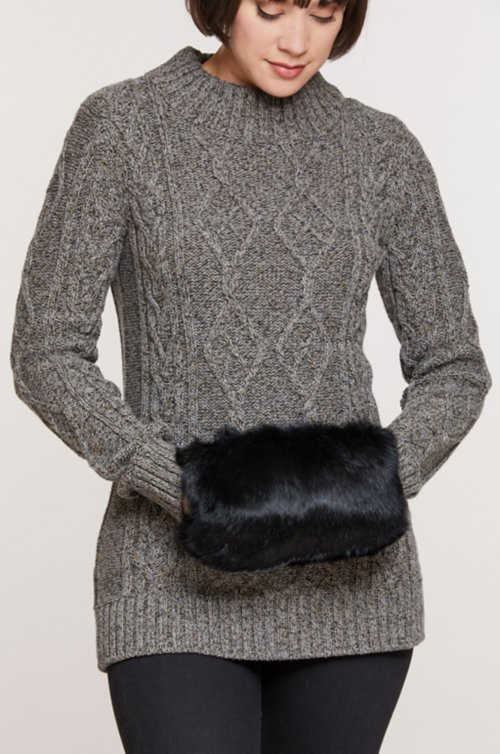 Rabbit Fur Crossbody Muff Clutch