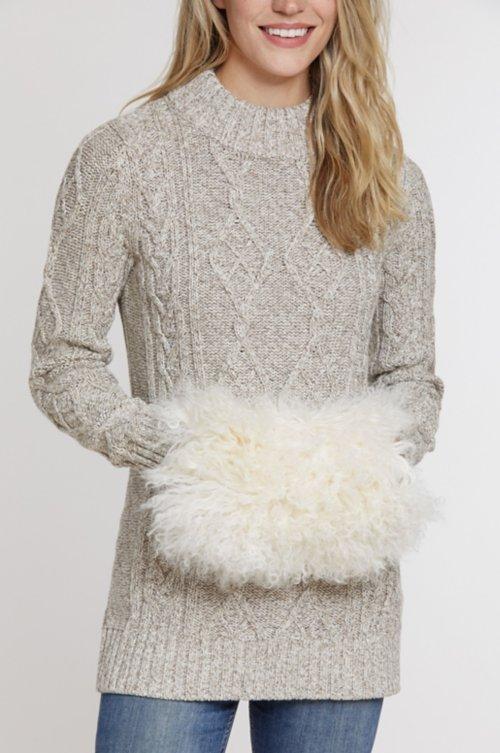 Tibetan Lamb Fur Crossbody Muff Clutch