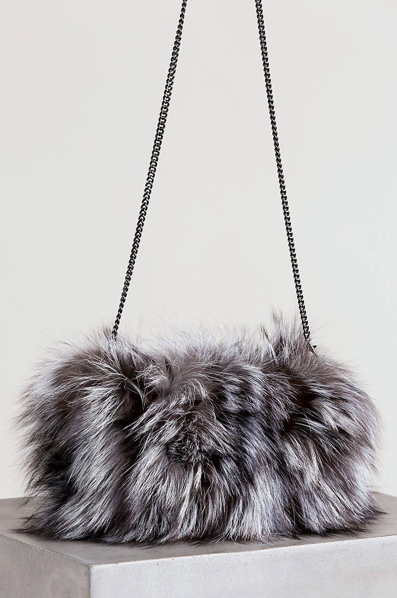 Fox Fur Muff Clutch Shoulder Bag