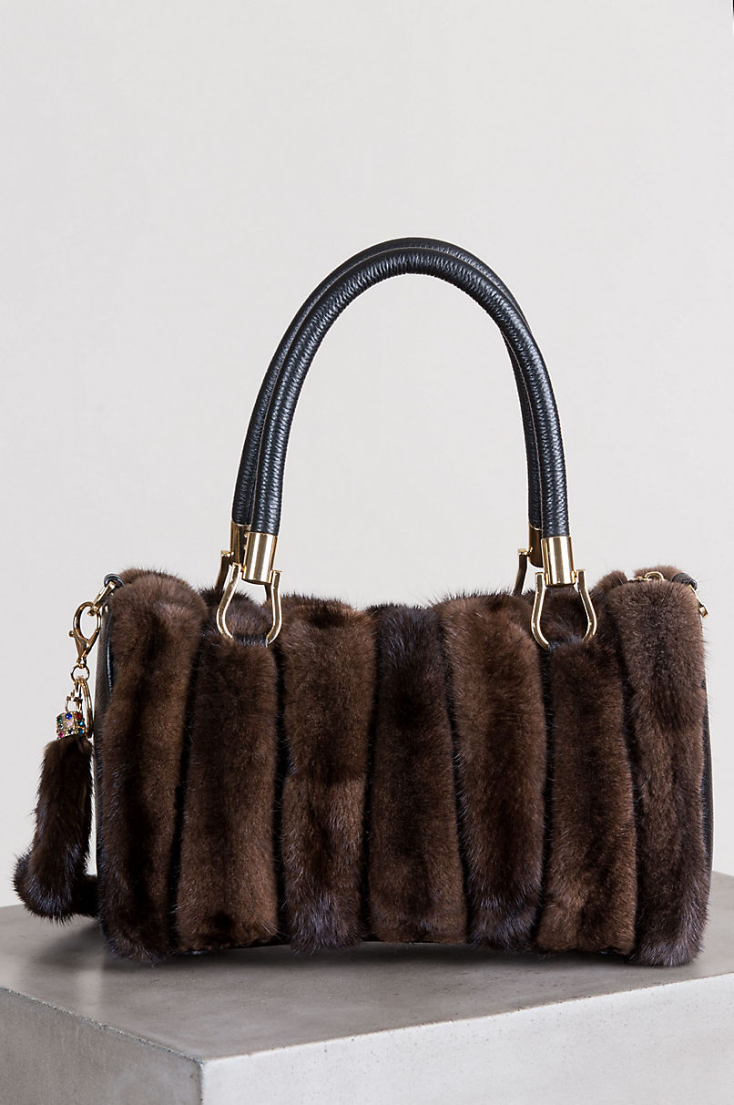 Hayden Danish Mink Fur and Leather Top Handle Shoulder Bag